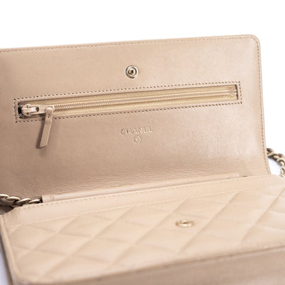 Chanel Quilted Lambskin WOC Wallet On Chain Beige