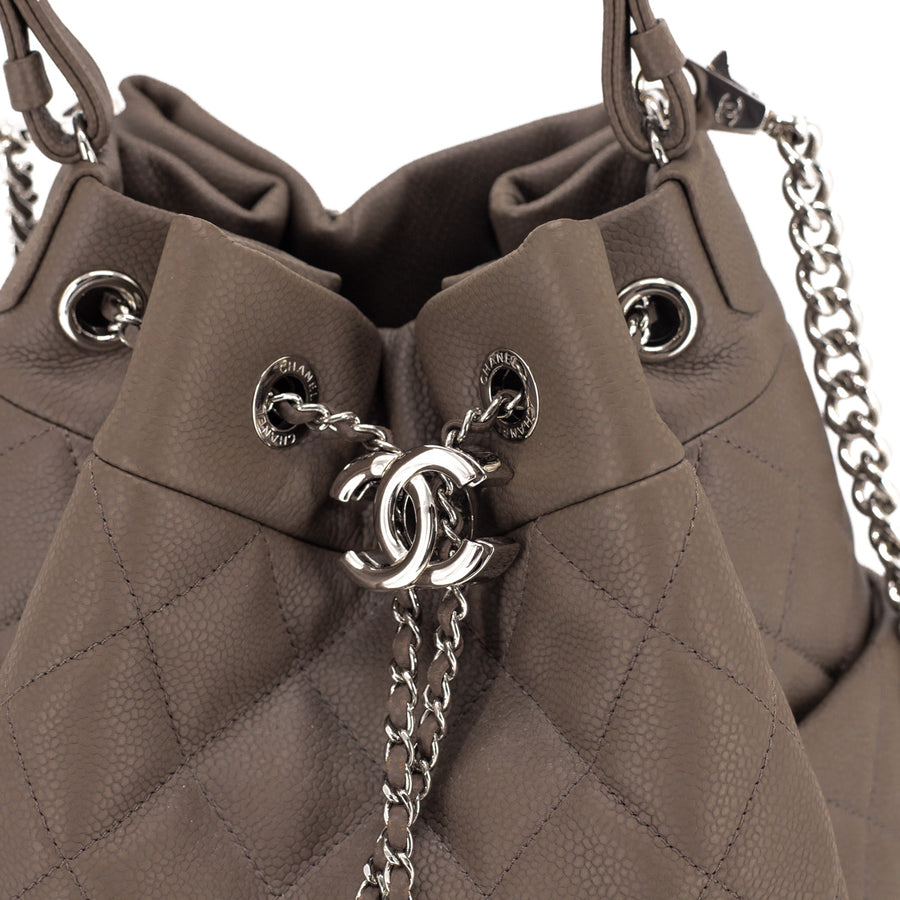 Chanel Quilted Calfskin Drawstring Bag Khaki