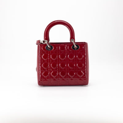 Dior Patent Medium Lady Dior Maroon