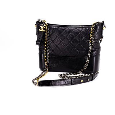 a964af2d CHANEL Aged Calfskin Quilted Medium Gabrielle Hobo Black - THE PURSE ...