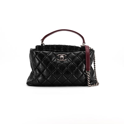 Chanel Tweed distressed diamond quilted leather black medium tote bag