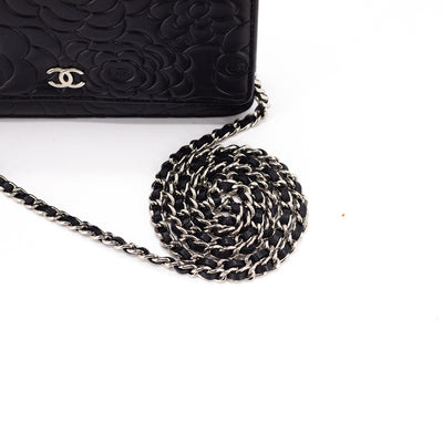 Chanel Camellia Wallet On Chains WOC Black
