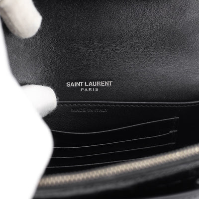 Saint Laurent Croc Embossed Calfskin WOC Black