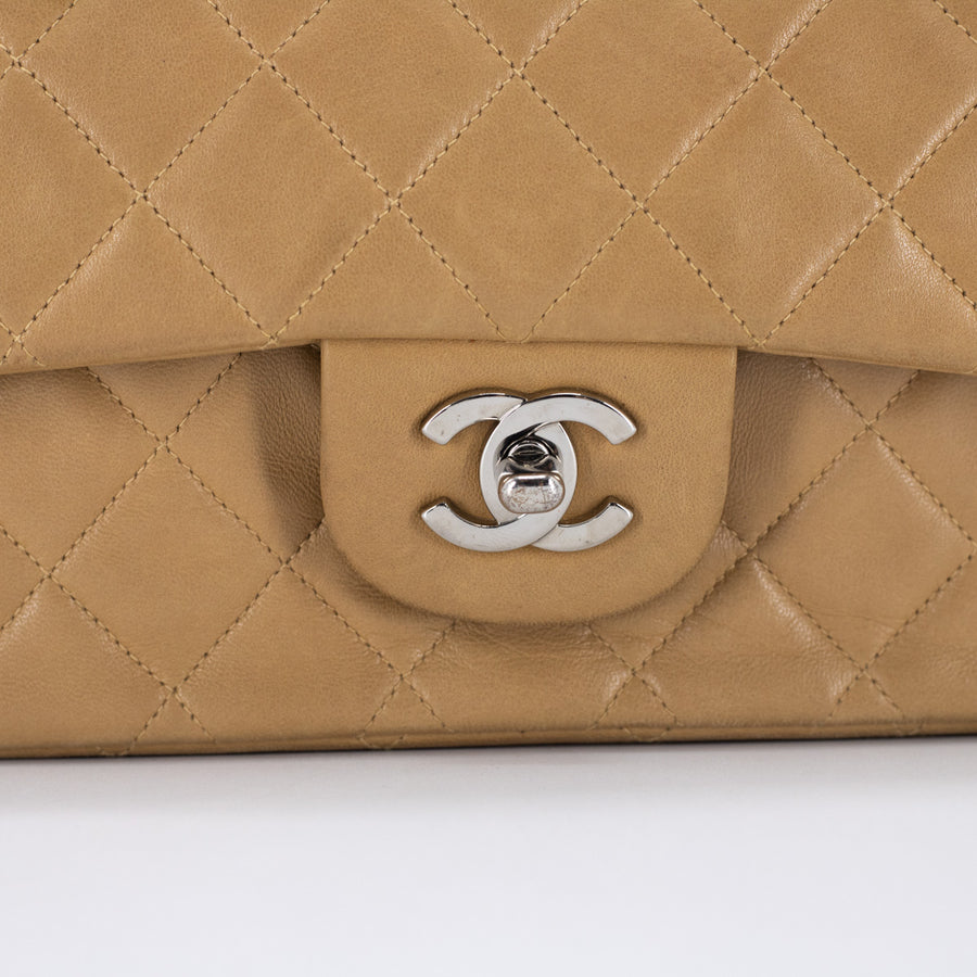 Chanel Quilted Medium/Large Classic Flap Dark Beige