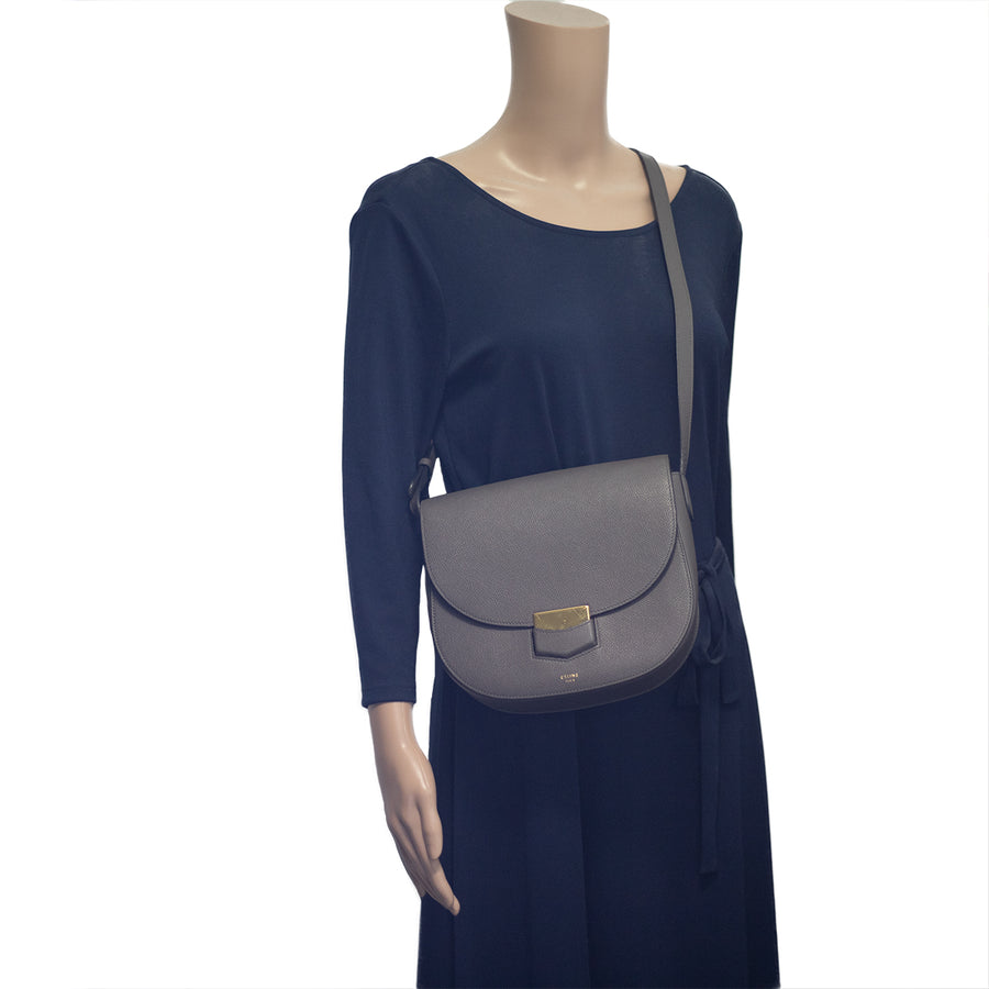Celine Trotteur Leather Handbag Grey