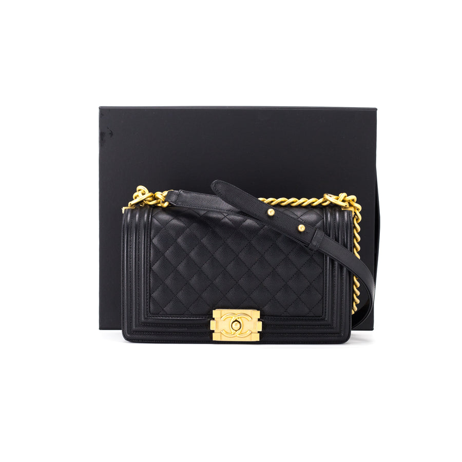 c82ae7a44378 CHANEL Quilted Caviar Old Medium Black Black Matte Gold