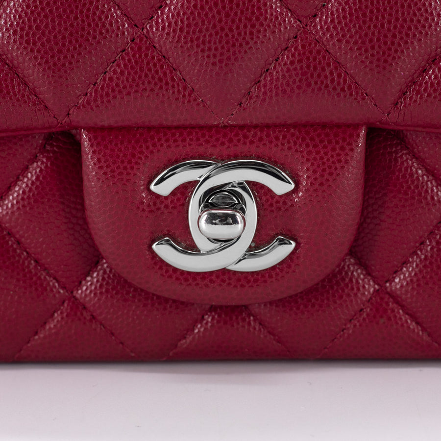 Chanel 18B Quilted Caviar Rectangular Mini Red/Dark Pink