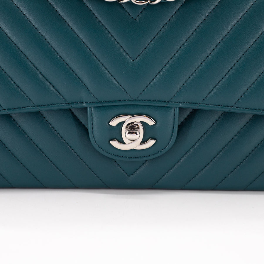 Chanel Chevron Medium/Large Classic Flap Green
