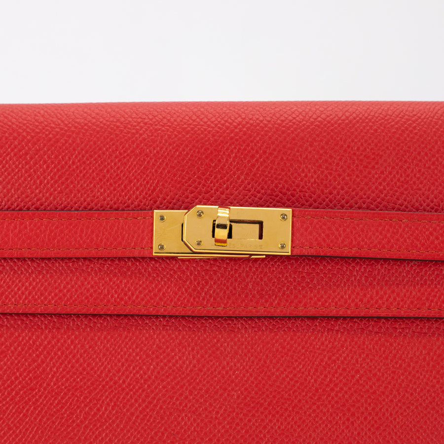 Hermes Kelly Classic Wallet Rouge Tomate - A Stamp