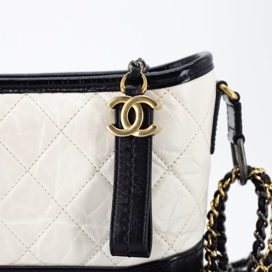 Chanel Chevron Small Gabrielle Hobo White/Black