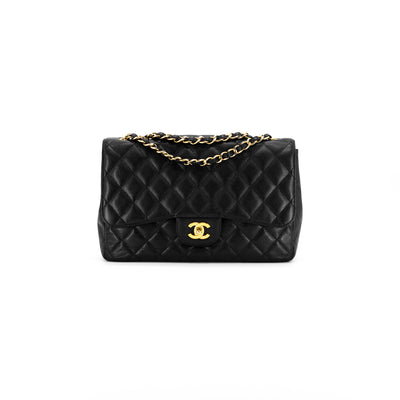 Chanel Quilted Caviar 24k gold plating Jumbo Single Flap Black