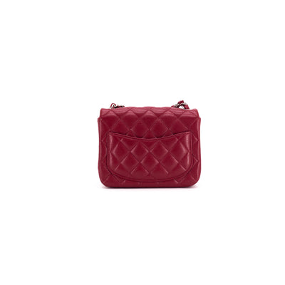 Chanel 18B Quilted Caviar Square Mini Dark Pink/Red