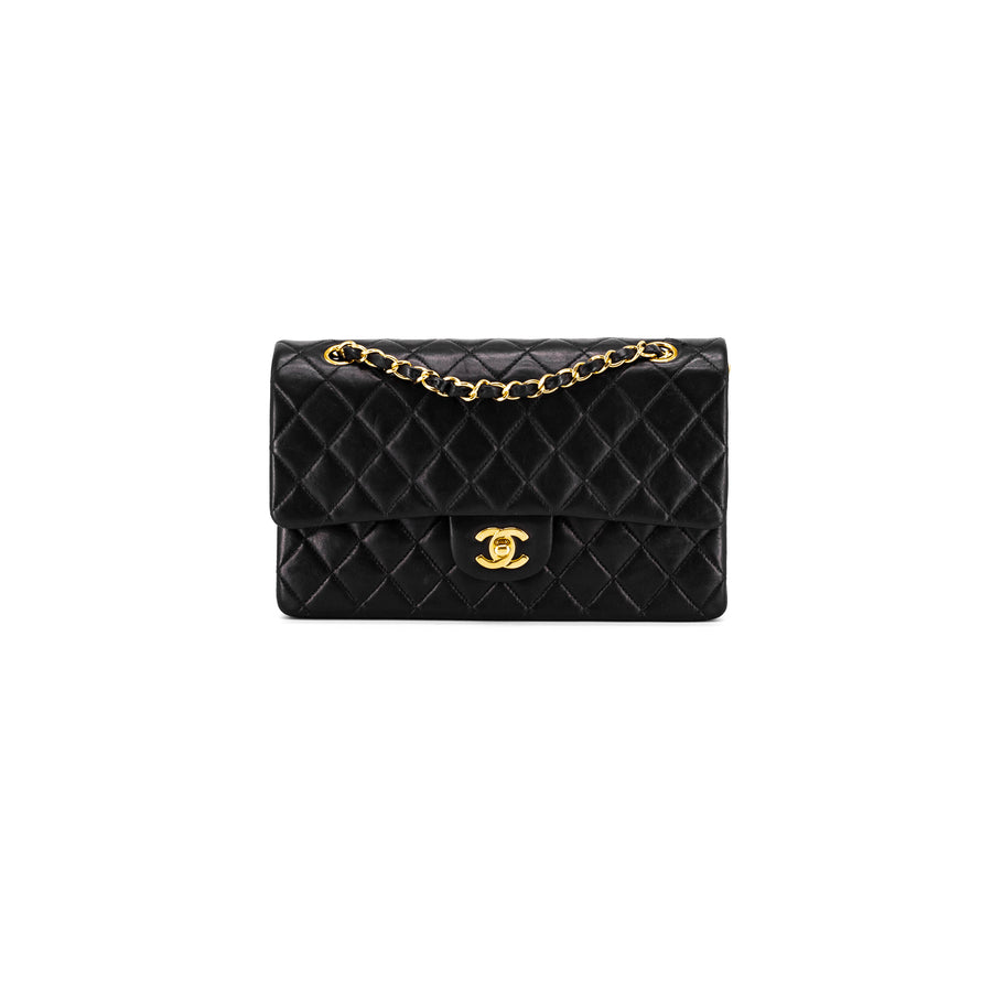 cc11df29d3a8f3 Chanel Vintage Quilted Medium/Large Classic Double Flap 24k Gold Black