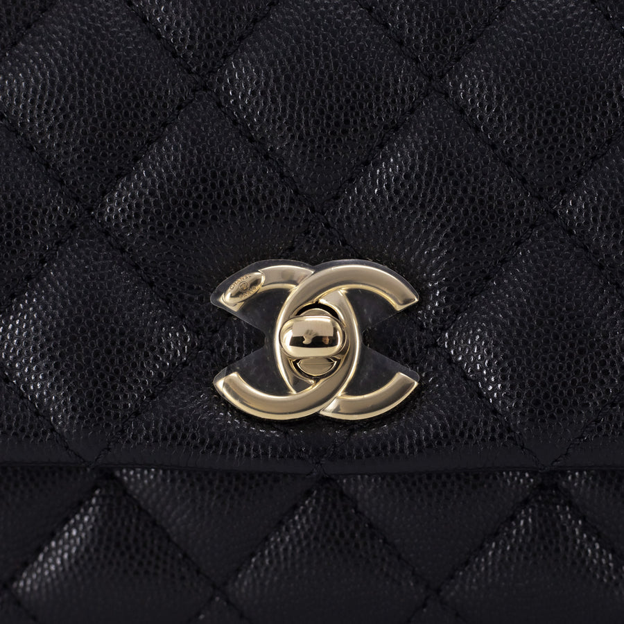Chanel Caviar Micro Coco Handle Black burgundy handle