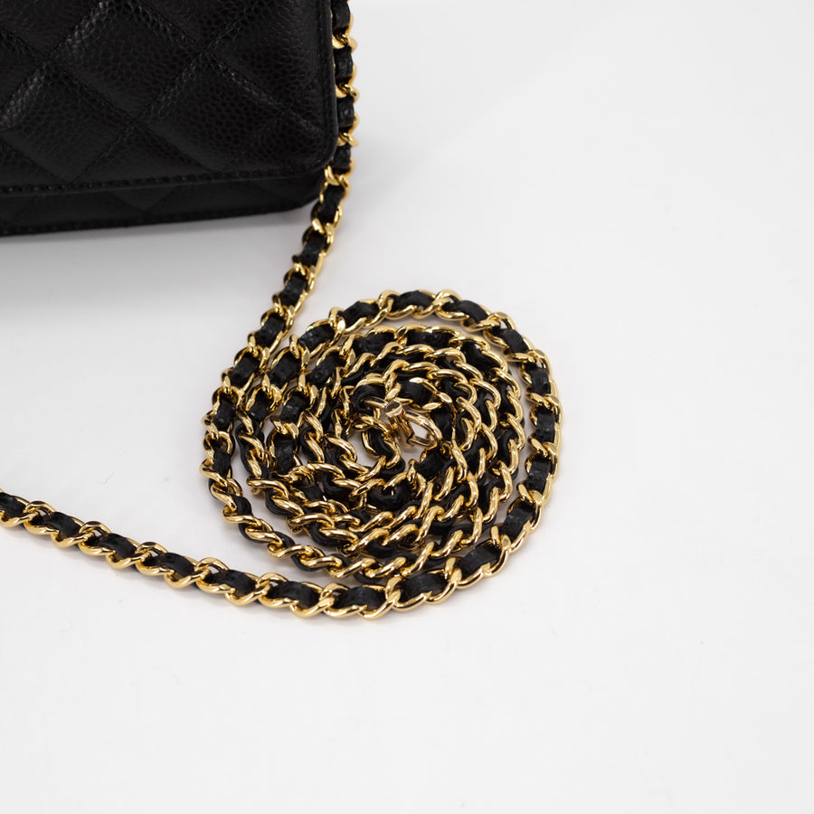 Chanel Quilted Caviar Wallet On Chains WOC Black