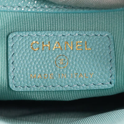 Chanel Quiled Caviar Medium O Case Tiffany Blue