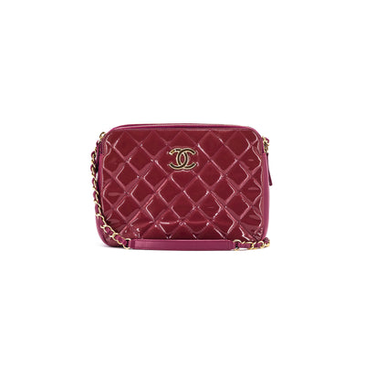 Chanel Quilted Cross Body Bag Dark Pink