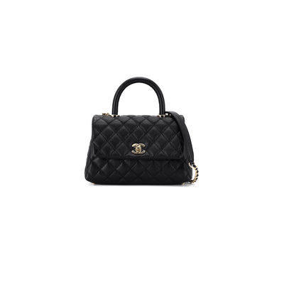 Chanel Quilted Caviar Small Coco Handle Black