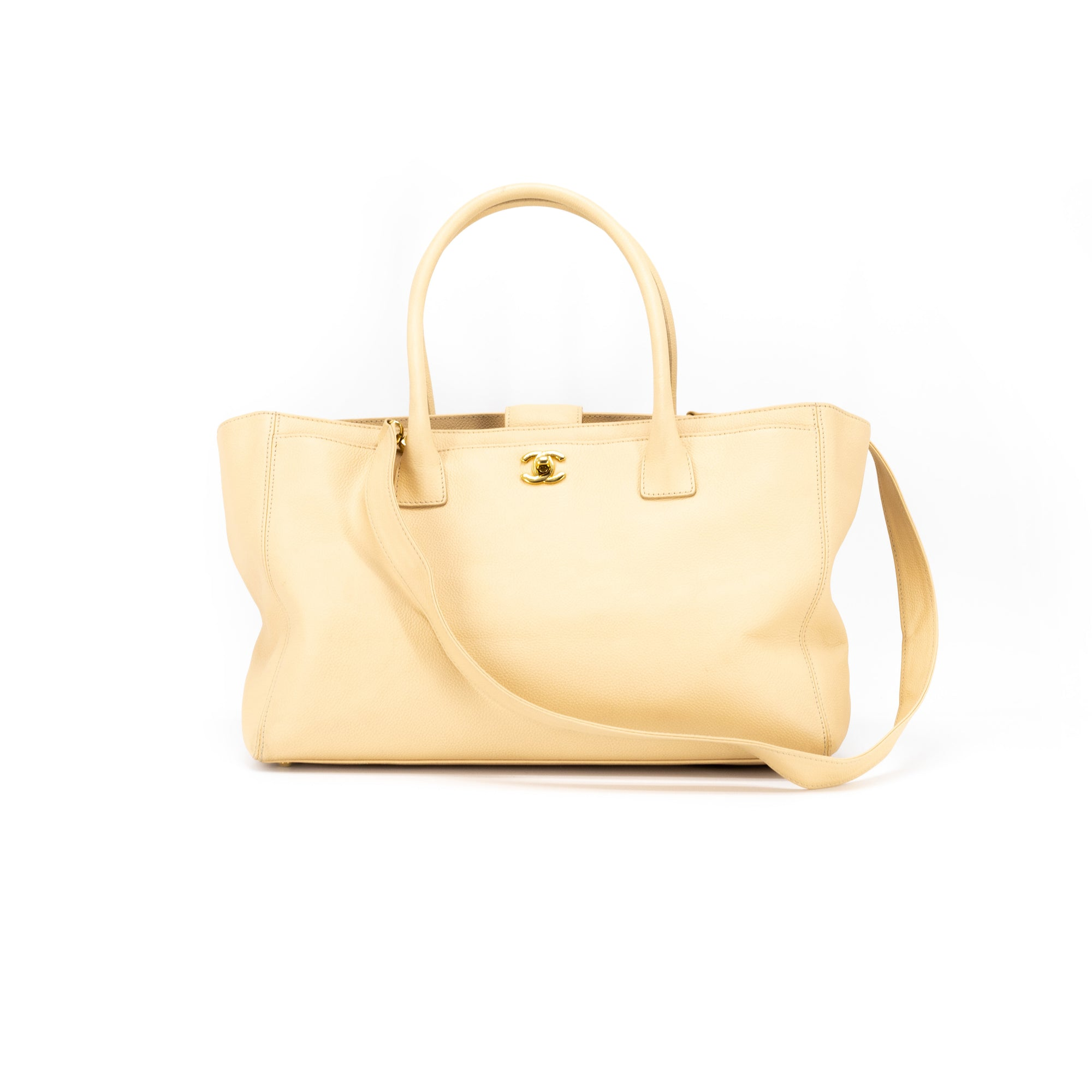 3e9c3c6ac7b1 Chanel Caviar Executive Cerf Tote Beige - THE PURSE AFFAIR