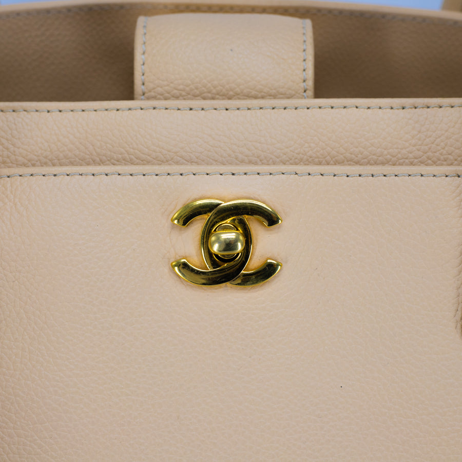 Chanel Caviar Executive Cerf Tote Beige