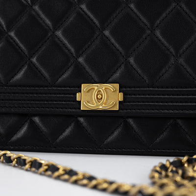 Chanel Quilted Lambskin Boy WOC Wallet On Chain Black