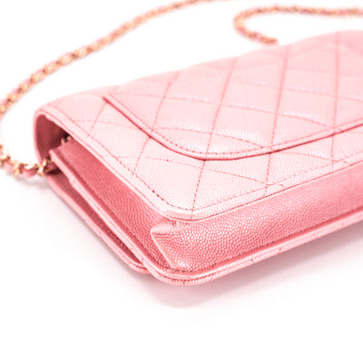 98a7c9633e Chanel 19S Iridescent Pink Quilted Wallet On Chain WOC - THE PURSE ...
