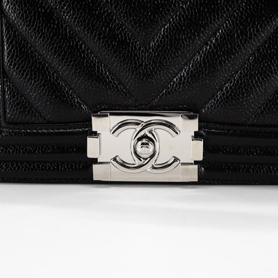 Chanel Quilted Caviar Small Boy Black