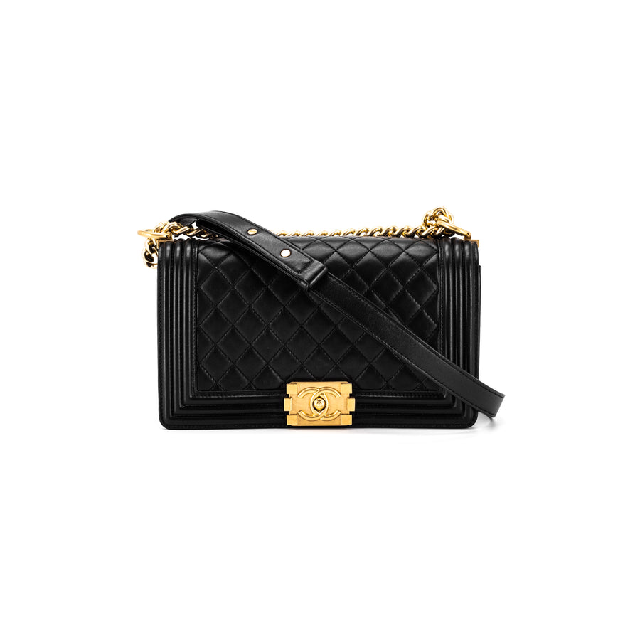 153593f7562e62 Chanel Quilted Old Medium Boy Flap Bag Black Gold