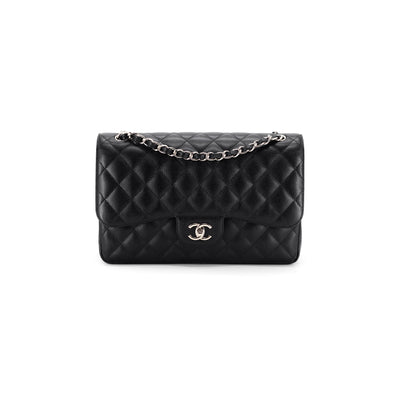 Chanel Quilted Caviar Double Flap Jumbo Black