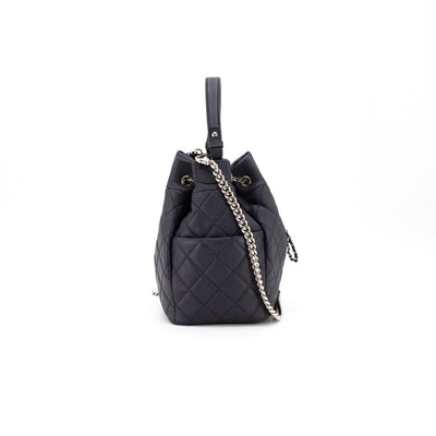 Chanel Quilted Calfskin Bucket Bag Grey
