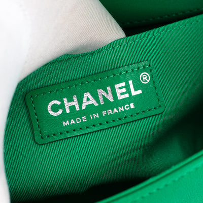 Chanel Chevron Small Boy Green with Holographic PVC