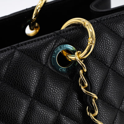 CHANEL CAVIAR GRAND SHOPPING TOTE GST BLACK