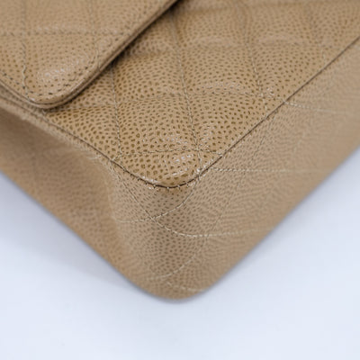 Chanel 24K Quilted Caviar Medium/Large Classic Flap Dark Beige/Caramel