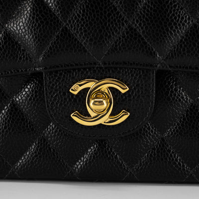 Chanel 24K Quilted Caviar Medium/Large Classic Flap Black