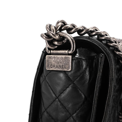 Chanel Lambskin Old Medium Soft Boy Flap Bag Enchained