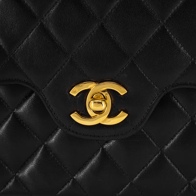 Chanel 24K Vintage Quilted Lambskin Double Flap Bag Black