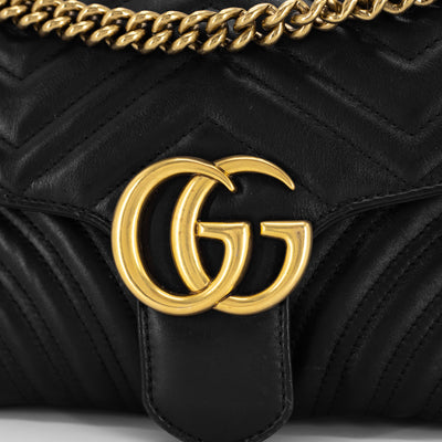 Gucci Marmont Small Matelassé Shoulder Bag Black