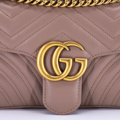 Gucci Marmont Small Matelassé Shoulder Bag Nude