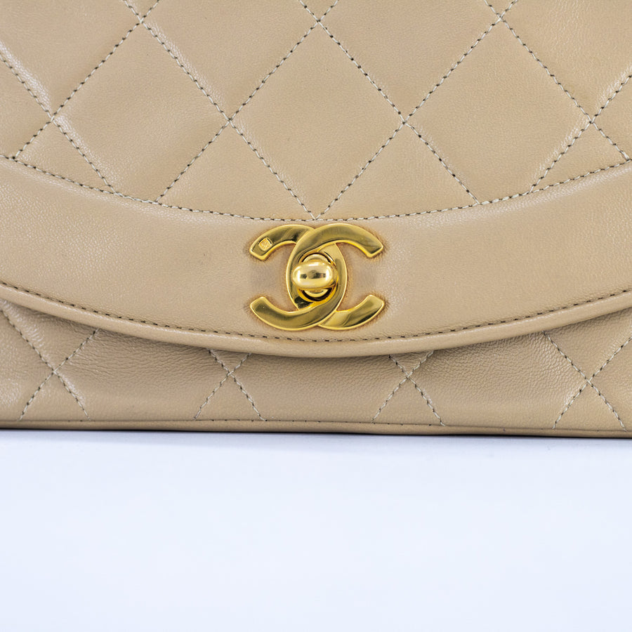 Chanel Vintage Small Diana 24k Beige