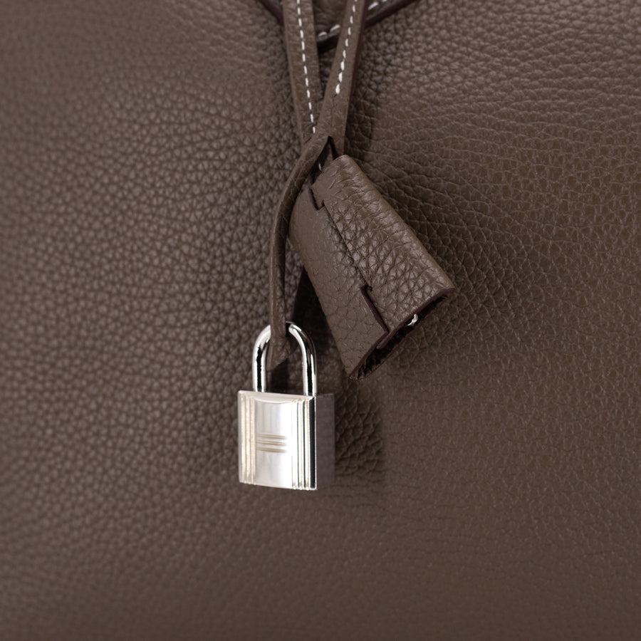 Hermes Clemence Victoria 35 Bag Etoupe - T Stamp