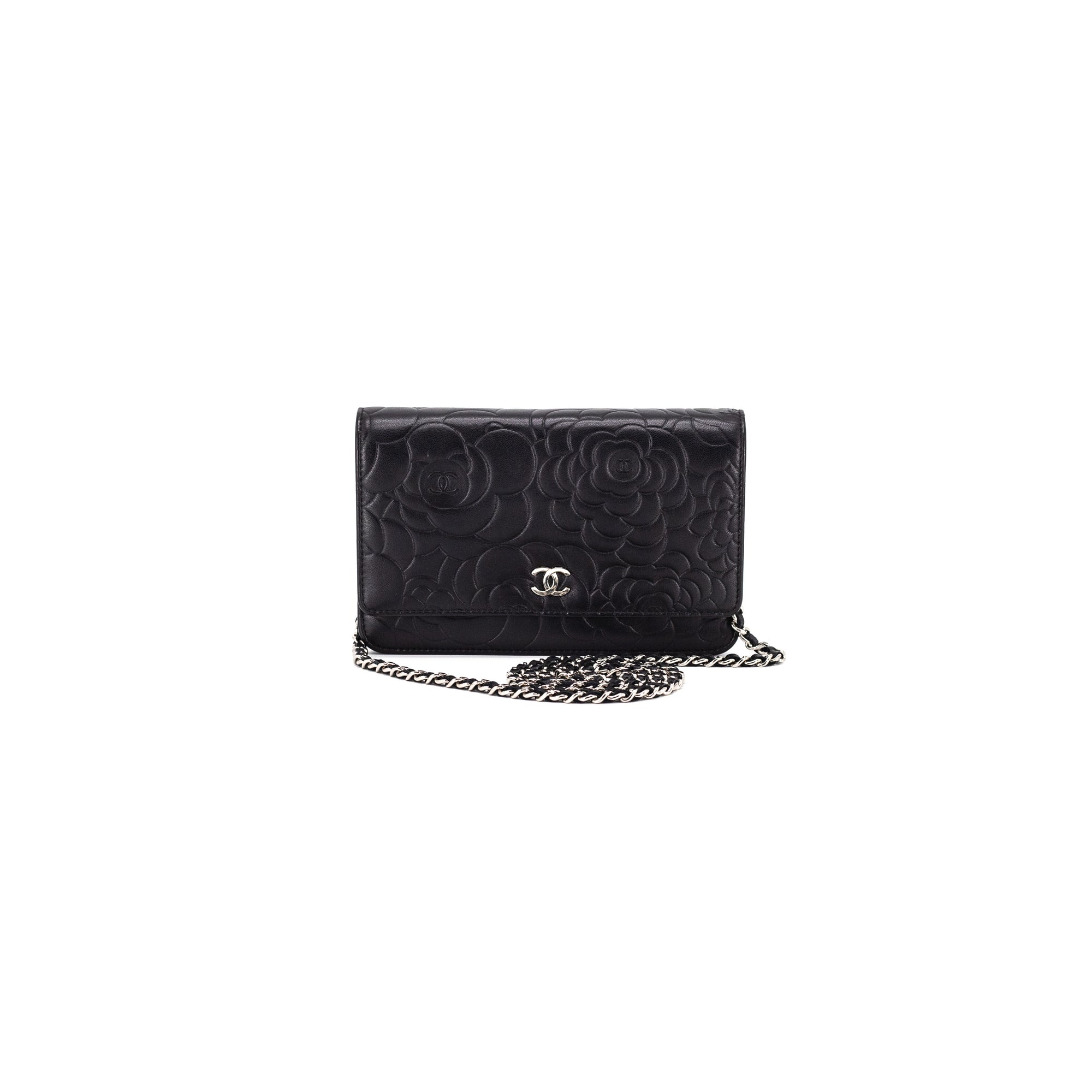 f3a3199f4e6d5d CHANEL Lambskin Camellia Embossed Wallet On Chain WOC Black - THE PURSE  AFFAIR