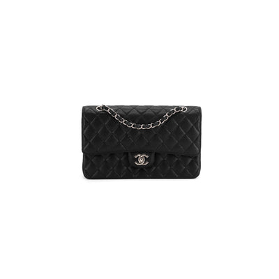 Chanel limited edition Tokyo Karl Lagerfield medium/large classic black caviar silver