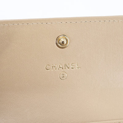 Chanel Quilted Boy Compact Wallet Beige