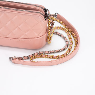 Chanel Quilted Calfskin Gabrielle Clutch On Chain Light Pink