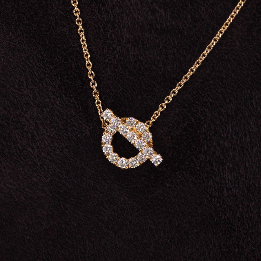 Hermes Finesse Pendant Diamond Rose Gold Necklace