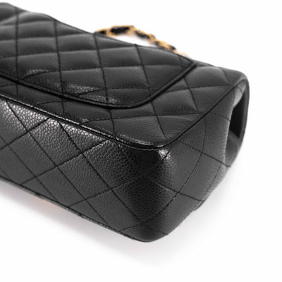 Chanel Quilted Caviar Rectangular Mini Black