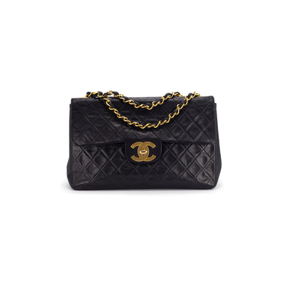 Chanel Quilted Lambskin Maxi Single Flap Bag Black