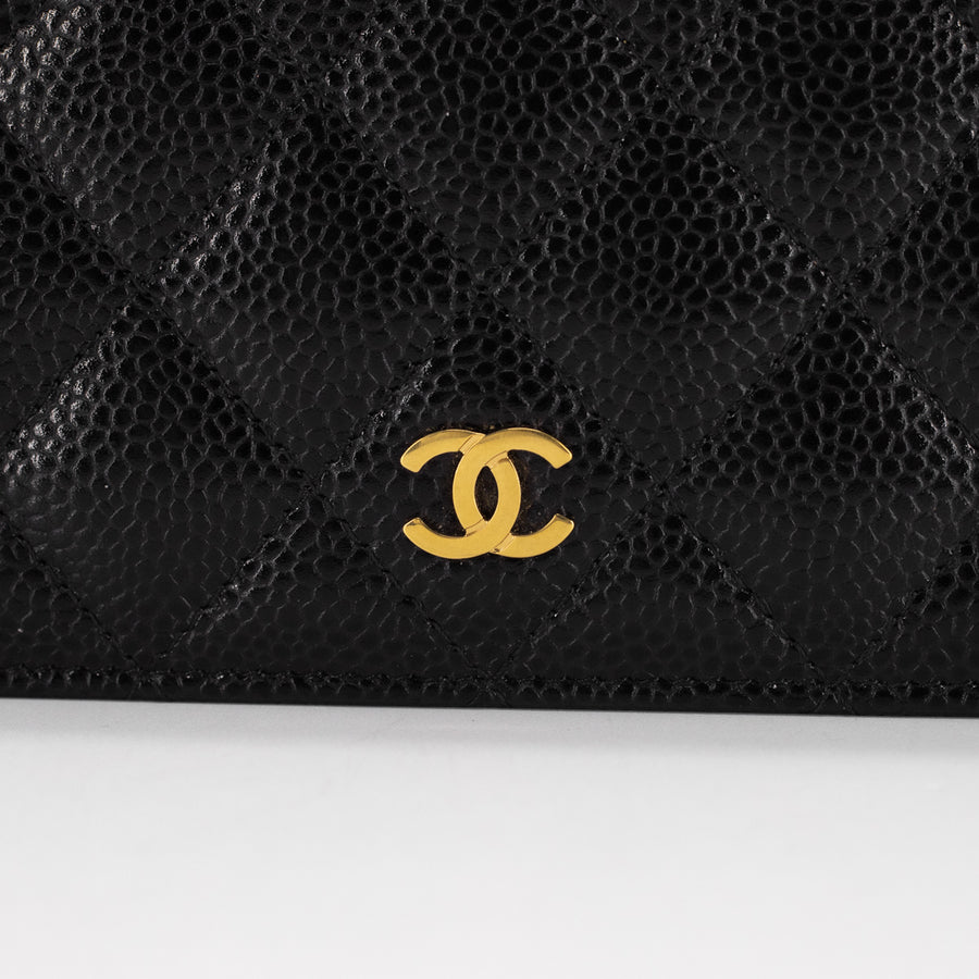 Chanel Quilted Caviar Long Wallet Black