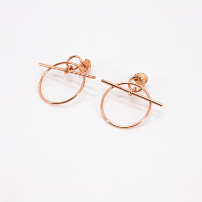 Hermes 18K Rose Gold Hoop Earrings