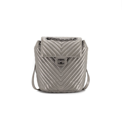 Chanel Small Chevron Urban Spirit Backpack Grey